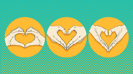 heart sign: Human hands with heart sign set Illustration