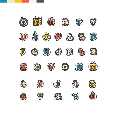 numbers clipart: Cartoon style alphabet vector clip-art. Comic type Illustration