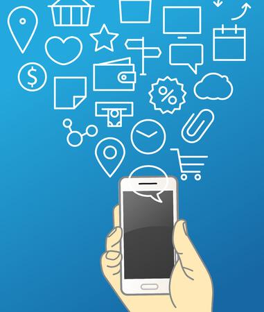 smartphone hand: Hand holding modern smartphone. Communication concept