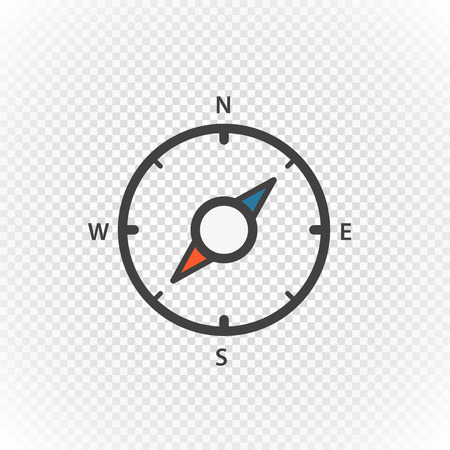Compass retro design vector icon isolated on transparent Illustration