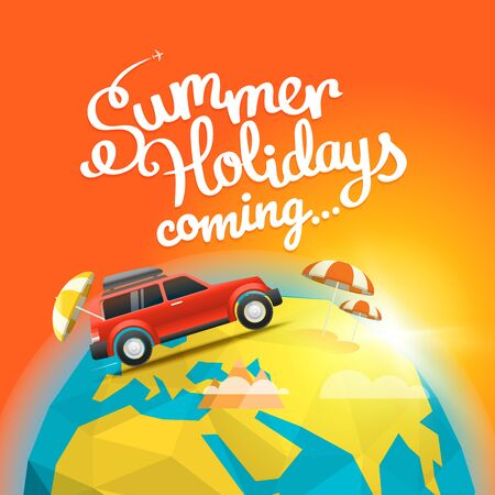 summer holidays: Summer travel vector illustration. Summer holidays coming concept. Car travel concept