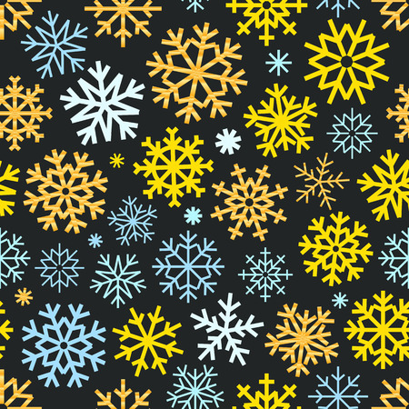 Different vector snowflakes seamless pattern. Vector ice crystal ornament