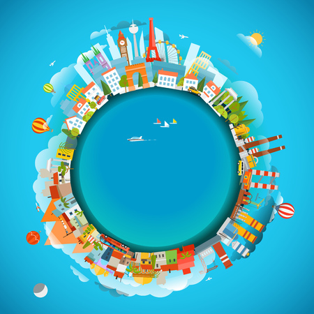 industry architecture: The Earth and different locations. Travel concept vector illustration. Copy-space for any text