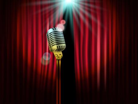 輝くマイクとステージのカーテンを開きます。イラスト。スタンド アップ ショー テンプレート  イラスト・ベクター素材