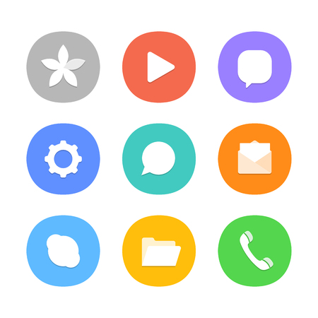 video call: Different color web icons. Social media pictograms. Modern smartphone icons set Illustration