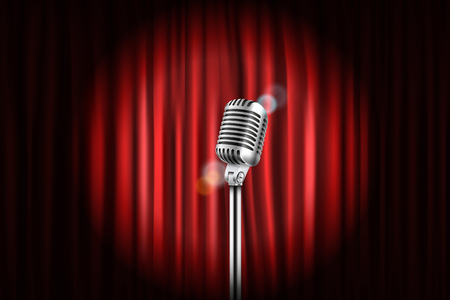 cortinas del escenario con ilustración brillante de micrófono. comedia en vivo concepto de espectáculo Ilustración de vector