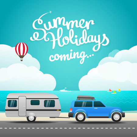 touristic: Vacation travelling concept. Flat design illustration. Hello summer holidays concept Illustration