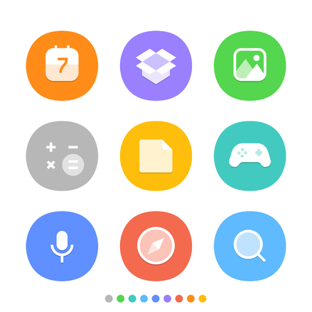 social web: Modern smartphone icons set. Different color web icons. Social media pictograms clipart Illustration