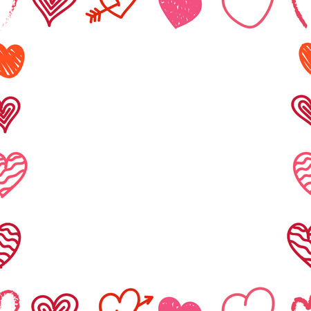 Verschiedene Valentinstag Hand Farbe gezeichnet Herzen Rahmen. Skizze Stil Herzen