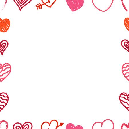 getrokken Verschillende Valentijnsdag handkleur hearts frame. Sketch stijlharten