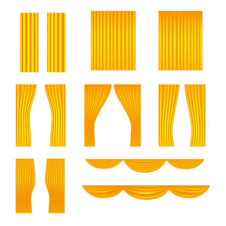 Different stage golden curtains vector collection Illustration