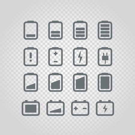Different accumulator status icons set. Design elements set isolated on transparent