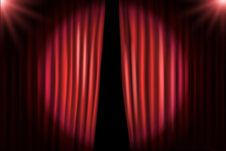 entertainment event: Opening stage curtains with bright projectors. Vector illustration. Standup show template