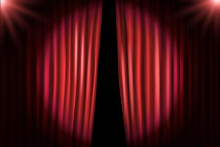 Ouverture des rideaux de scène avec des projecteurs lumineux. Illustration vectorielle Stand-up modèle de spectacle Vecteurs