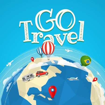 a way: Summer travel vector illustration. Go travel concept