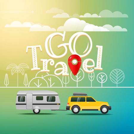 Modern car on the way. Vacation concept with logo. Go travel Illustration