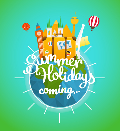 Vacation travelling concept. Vector travel illustration with different famous sights.  Hello summer holidays concept