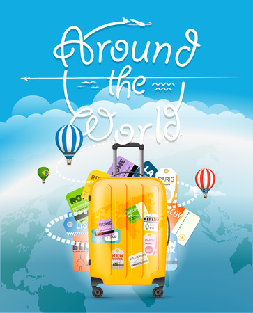 touristic: Go travel concept. Travel bag and different touristic elements