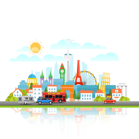 Modern Cityscape with different vehicle. Vector illustration. Travel concept Illustration