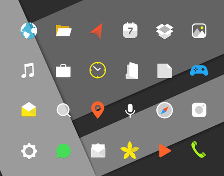 icons: Modern smartphone color icons set. Different web icons. Modern material design pictograms