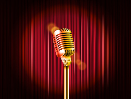 entertainment event: Stage curtains with golden microphone vector illustration. Standup comedy show template