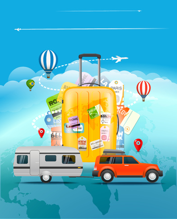jets: Travel concept. Travel bag and different touristic elements include car, jets and balloons Illustration