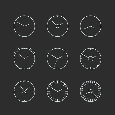 異なるラインアート時計コレクションです。ベクトルを設定 写真素材 - 75489615