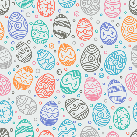 Happy Easter seamless background. Vector seamless pattern of color easter elements