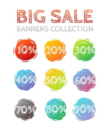 colo: Different colo sale banners vector collection. Web promo banners set Illustration