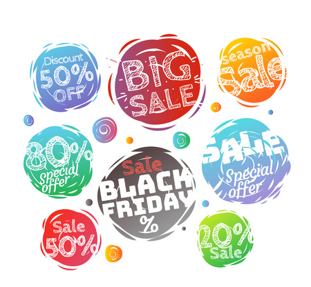 colo: Different colo sale banners vector collection. Web promo banners set isolated on white Illustration