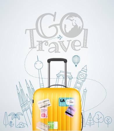 travel bag: Color plastic travel bag with different travel elements vector illustration. Travel concept