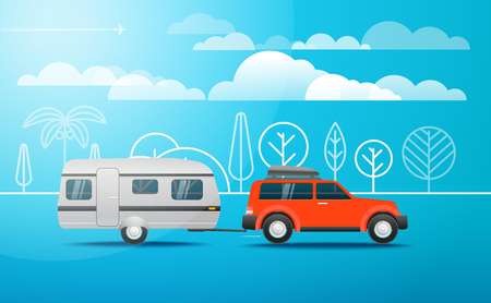 Modern car on the way. Vacation concept