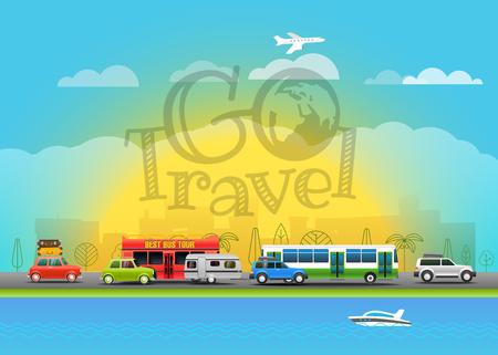 seacoast: Travel vector illustration. Go travel
