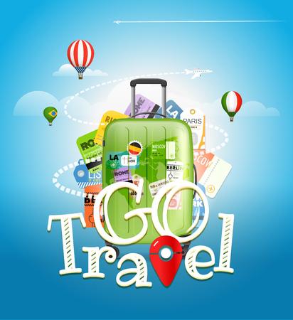 Ir concepto de viaje. Bolsa de viaje y diferentes elementos turísticos