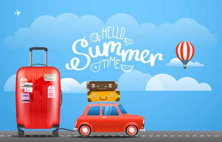 Ferienreisenkonzept. Auto mit Gepäck. Urlaub nehmen