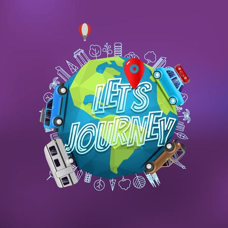旅の概念をことができます。地球上でのベクトルのロゴの背景をぼかし