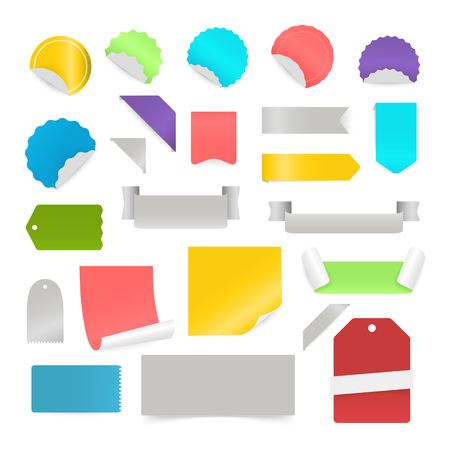 note booklet: Paper stickers and labels isolated on white background. Vector clip-art