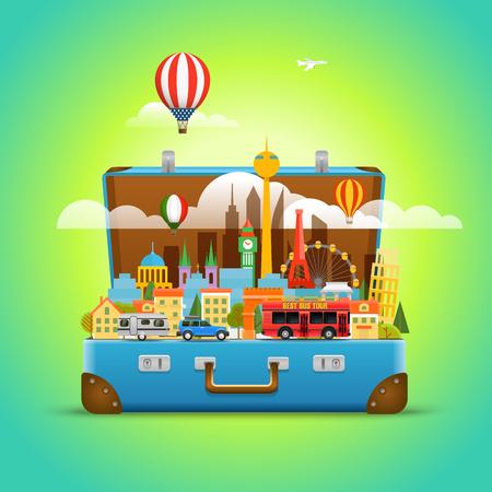 Around the world concept. Modern cityscape Vector travel illustration Illustration