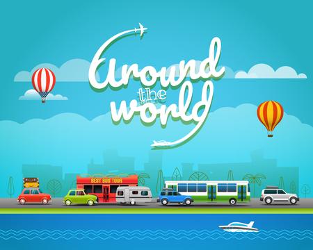 seacoast: Travel vector illustration. Around the world concept