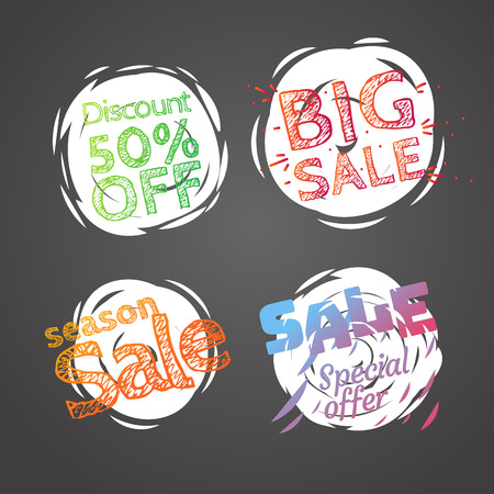 Different colo sale banners vector collection. Web promo banners set Illustration