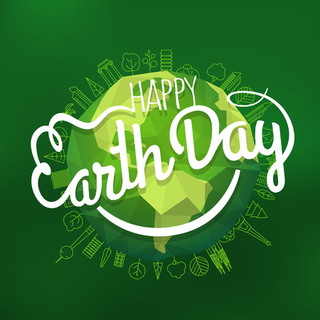 Happy Earth Day concept. Vector logo with the smile. Smiling Earth illustration on blur background