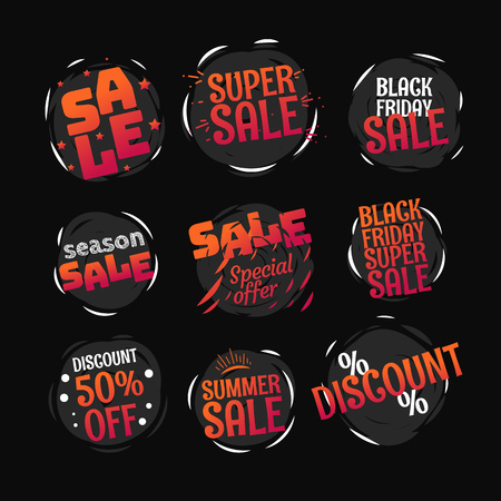 Different color sale banners vector collection. Web promo banners set