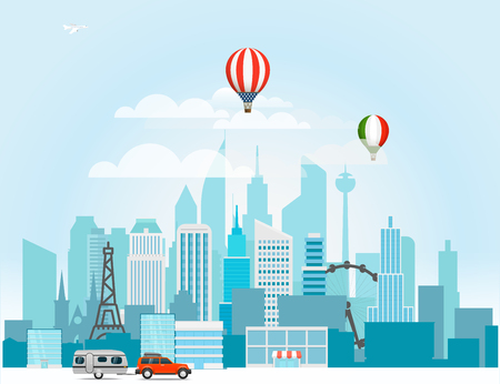 Modern cityscape vector illustration. Around the world concept Illustration