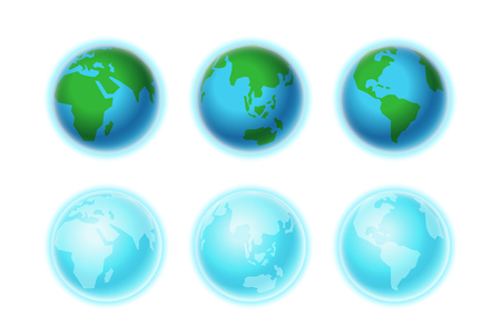 Different Earth sides isolated on white. Infographic template