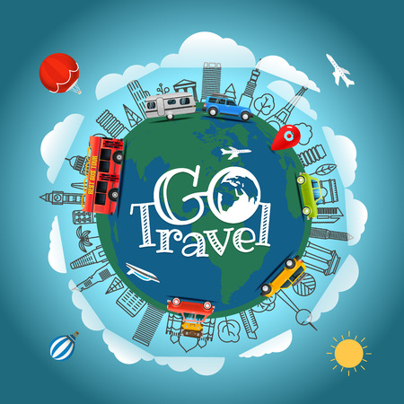 Travel around the Earth. Go travel concept. Vector illustration Illustration