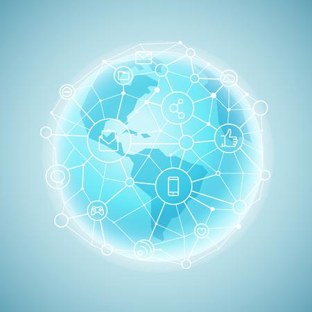 Modern global network abstract svheme. Vector illustration Illustration