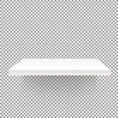 White empty shelf on transparent background. Vector mockup