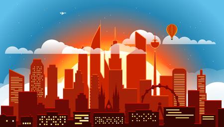 residental: Modern cityscape in the evening vector illustartion. Big city scene