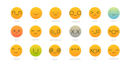 Ensemble de couleur japonaise Emoji isolé sur blanc. Illustration vectorielle
