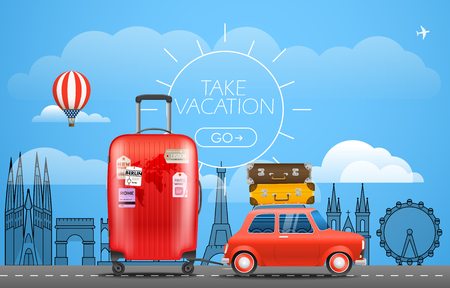 Vacation travelling concept. Car with baggage. Take vacation Illustration
